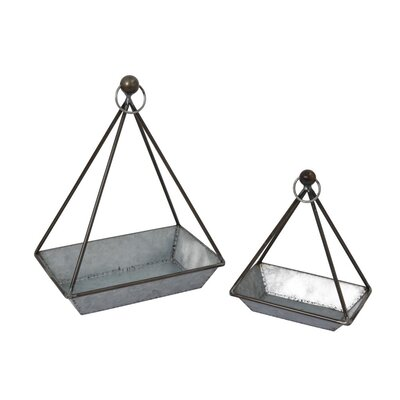 Hammontree Nesting Geometric 2-Piece Metal Hanging Planter Set