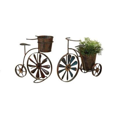Hanchett 2-Piece Metal Tricycle Planter Set