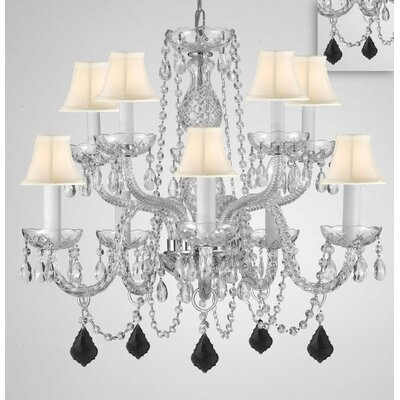 Mellott Crystal 10-Light Shaded Chandelier Crystal Color: Black, Shade Color: White