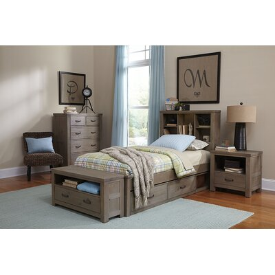 Allan Panel Bed with Bookcase Storage Bed Frame Color: Driftwood, Size: Twin