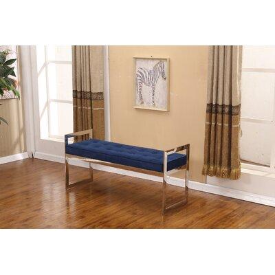"Heffron Bench Size: 22"" H x 40"" W x 16"" D, Upholstery: Blue"
