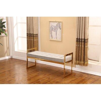 "Heffron Bench Size: 22"" H x 47"" W x 16"" D, Upholstery: Gray"
