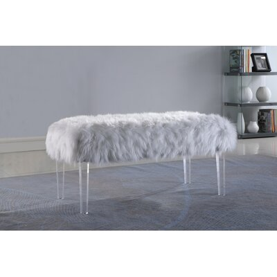 Hefley Fur Bench Upholstery: White