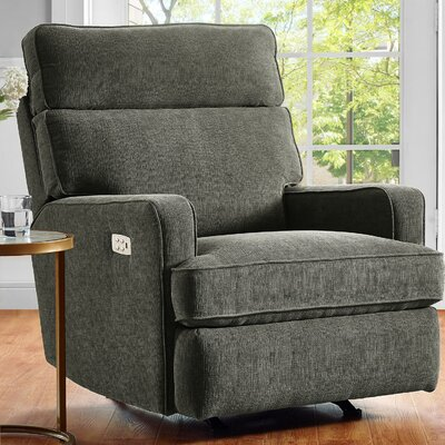 Enchanted Reclining Glider Upholstery: Gray