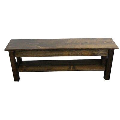 """Hanneman Wood Bench with Shelf Size: 17"""" H x 24"""" W x 12"""" D, Color: Dark Walnut"""