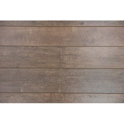 "Geneva 9"" x 48"" x 12mm Driftwood Laminate Flooring in Brown"