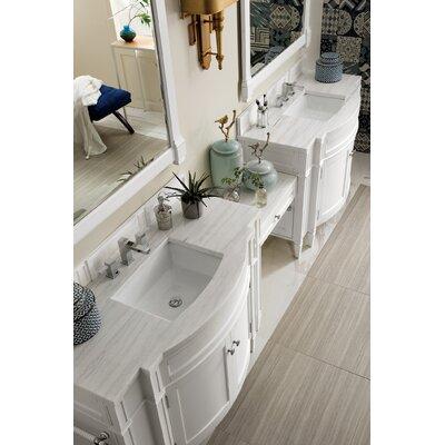 "Dussault 118"" Double Bathroom Vanity Set Top Finish: Arctic Fall, Base Finish: Cottage White"