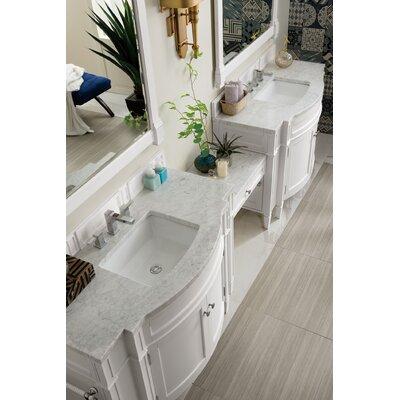 """Dussault 118"""" Double Bathroom Vanity Set Top Finish: Carrara White, Base Finish: Cottage White"""
