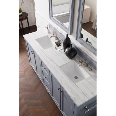"""Berlin 72"""" Double Bathroom Vanity Set Top Thickness: 3 cm, Top Finish: Arctic Fall, Base Finish: Silver Gray"""
