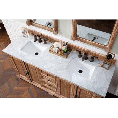 """Durst 72"""" Double Bathroom Vanity Set Top Finish: Carrara White, Base Finish: Driftwood"""