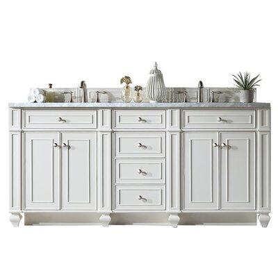 "Lambrecht 72"" Double Bathroom Vanity Set Top Thickness: 4 cm, Base Finish: Cottage White, Top Finish: Santa Cecilia"