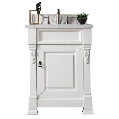 """Bedrock 26"""" Single Bathroom Vanity Set Top Finish: Carrara White, Base Finish: Cottage White"""
