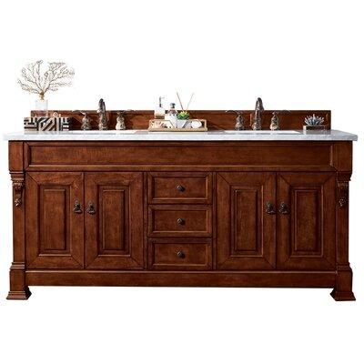 "Bedrock 72"" Double Bathroom Vanity Set Top Finish: Carrara White, Base Finish: Warm Cherry"