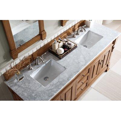 "Bedrock 72"" Double Bathroom Vanity Set Top Finish: Carrara White, Base Finish: Country Oak"