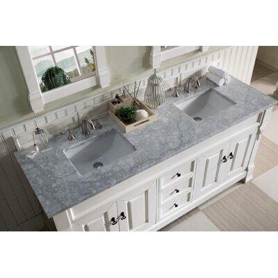 """Bedrock 72"""" Double Bathroom Vanity Set Top Finish: Carrara White, Base Finish: Cottage White"""