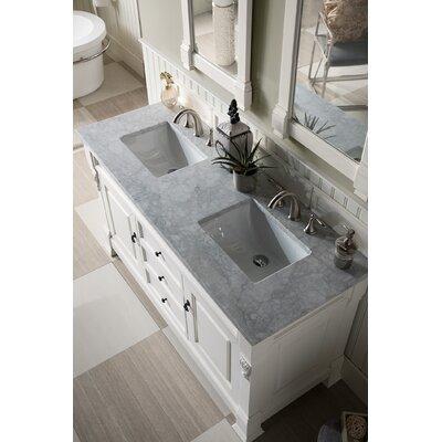 """Bedrock 60"""" Double Bathroom Vanity Set Top Finish: Carrara White, Base Finish: Cottage White"""