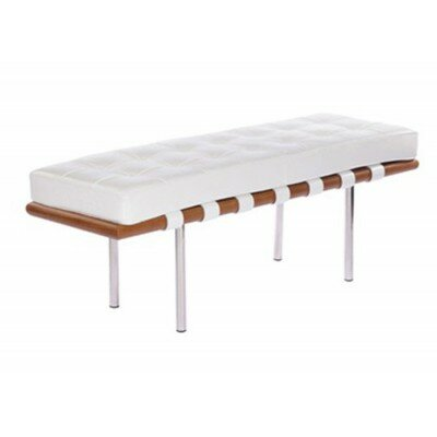 Stiner Cross Metal Bench Upholstery: White