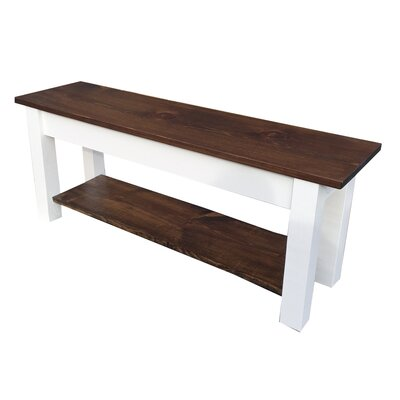 "Mccardle Bench with Shelf Size: 17"" H x 36"" W x 12"" D, Color: Dark Walnut/White"