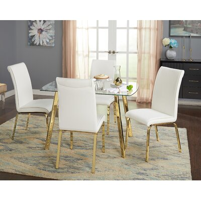 Leia 5 Piece Dining Set Chair Color: White