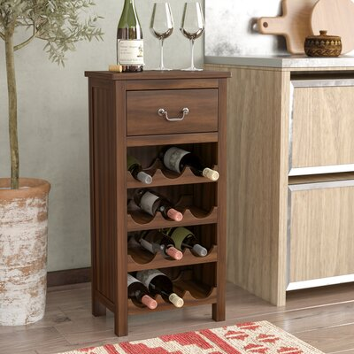 Westby 12 Bottle Floor Wine Bottle Rack Finish: Dark Oak