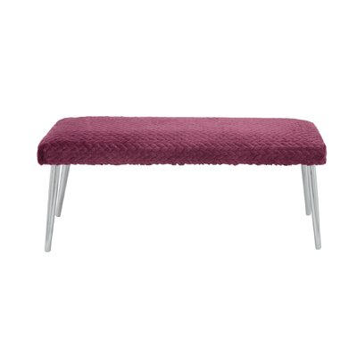 Hippocrates Upholstered Bench Color: Purple/Chrome
