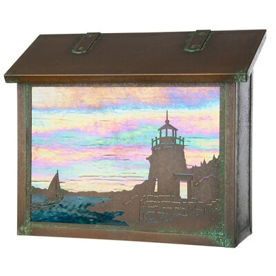 Coastal Cottage Wall Mounted Mailbox Finish: New Verde, Glass Color: Gold Iridescent