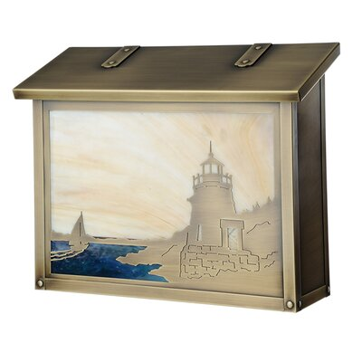 Coastal Cottage Wall Mounted Mailbox Finish: Old Brass, Glass Color: Honey