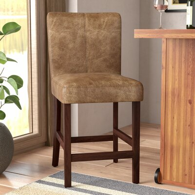"Big Bear Lake Bar & Counter Stool Seat Height: Counter Stool (24"" Seat Height), Upholstery: Solid Brown"