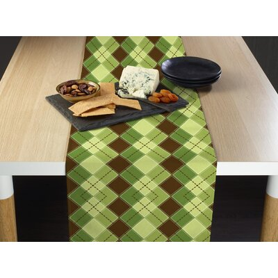 """Foerster Argyle Plaid Table Runner Size: 72"""" W x 12"""" L, Color: Brown"""