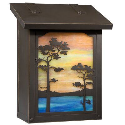 Monterey Wall Mounted Mailbox Glass Color: Gold Iridescent, Finish: Architectural Bronze