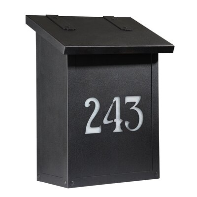 Classic Wall Mounted Mailbox Finish: Textured Black, Glass Color: Champagne