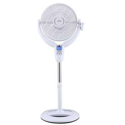 """AirFlo 360 14"""" Oscillating Pedestal Fan with LCD Display and Thermostat Finish: White"""