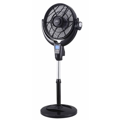 """AirFlo 360 14"""" Oscillating Pedestal Fan with LCD Display and Thermostat Finish: Black"""