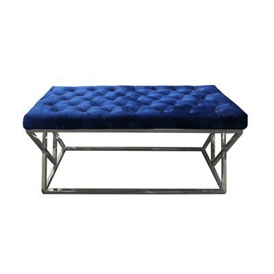 Munz Upholstered Bench Upholstery: Blue