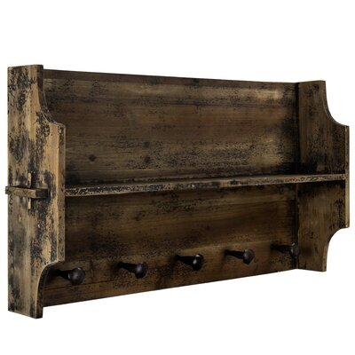 Hanover Rustic Wood Vintage Country Farmhouse Wall Mounted Coat Rack
