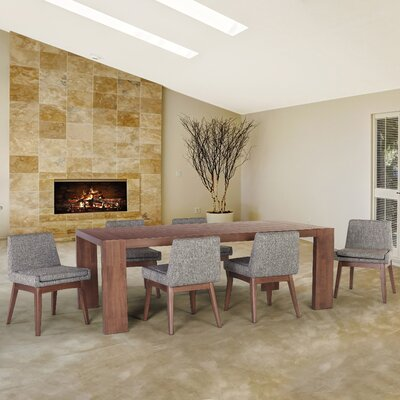Crume 7 Piece Dining Set Chair Color: Coral
