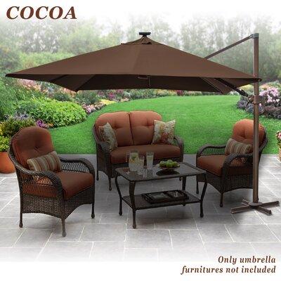 Fiorentino Hanging Solar Powered 10' Cantilever Umbrella Fabric color: Cocoa