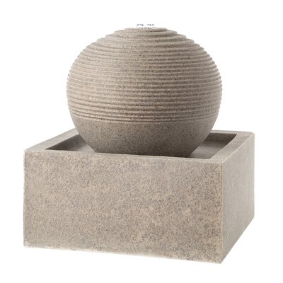 Resin Square Base Orb Top Fountain With Light