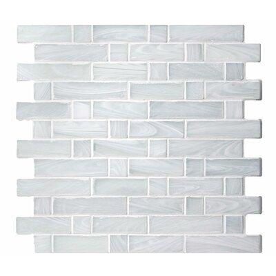 Homespun Flannel Dorset Random Sized Glass Mosaic Tile in White