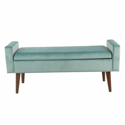 Kimbolton Upholstered Storage Bench Upholstery: Light Aqua