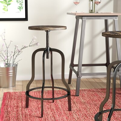 "Peony 37"" Swivel Bar Stool Frame Finish: Black"