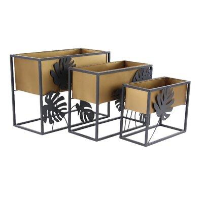 "Granville Modern Tin Square 3 Piece Corner Plant Stand Set Size: 18"" H x 24"" W x 12"" D"