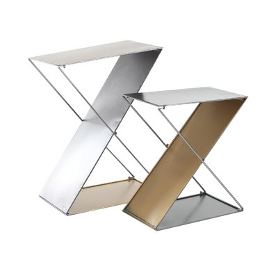Feemster Modern Tin 2 Piece Z-Shaped Corner Plant Stand Set Color: Gray/Gold