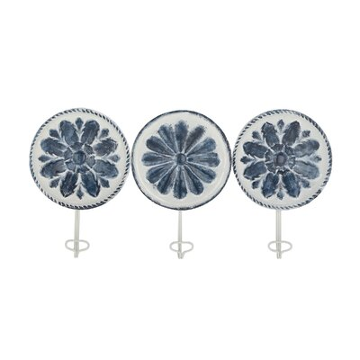 Levay Contemporary Round Iron Floral 3 Piece Wall Hook Set