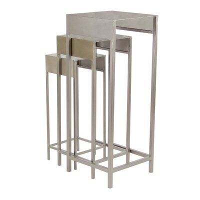 Reatha Contemporary Iron 3 Piece Nesting Plant Stand Set Color: Silver