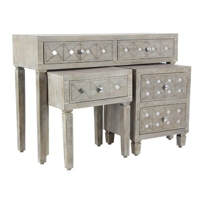 Andice Rustic 3 Piece Console Table Set