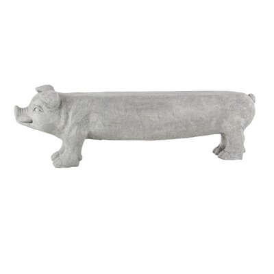 """Stockard Eclectic Pig Bench Size: 14"""" H x 28"""" W x 8"""" D, Color: Light Gray"""