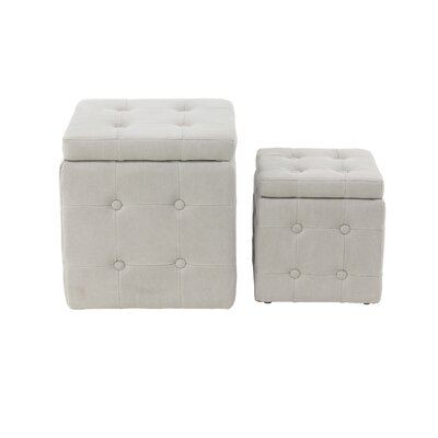 Leverette Contemporary Square 2 Piece Accent Stool Set Color: White