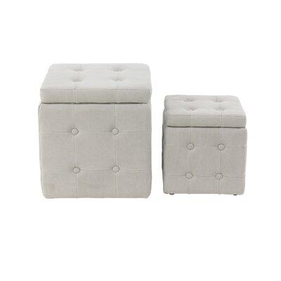 Leverette Contemporary Square 2 Piece Accent Stool Set Color: White