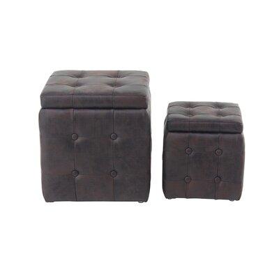 Leverette Contemporary Square 2 Piece Accent Stool Set Color: Brown